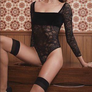 For Love and Lemons Black Velvet Romy Bodysuit